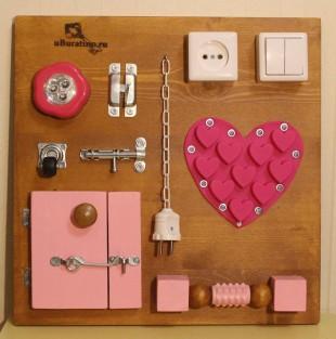 Бизиборд 40х40 розовый